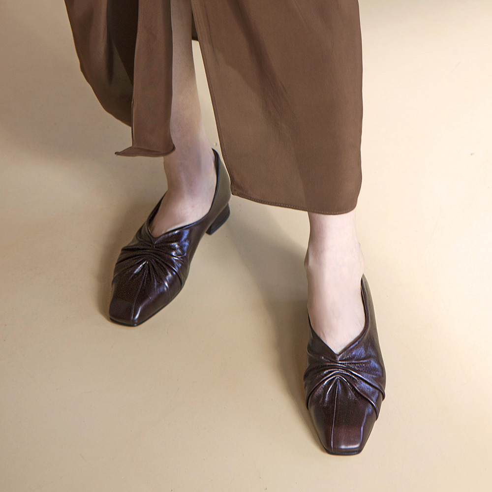 Classic retro flat shoes_Brown